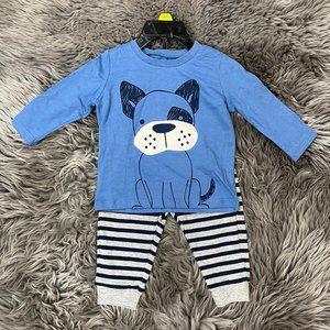 Pekkle | Infant's 2 Piece Set | Puppy Theme | Blue